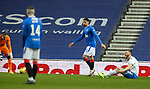 13.02.2021 Rangers v Kilmarnock: Danny Whitehall looking for a penalty after tangling with Leon Balogun