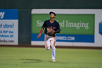 AZL Indians 2 right fielder Jhon Torres (22) prepares to catch a fly ball during an Arizona League game against the AZL Dodgers at Goodyear Ballpark on July 12, 2018 in Goodyear, Arizona. The AZL Indians 2 defeated the AZL Dodgers 2-1. (Zachary Lucy/Four Seam Images)