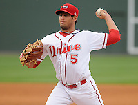 Starting pitcher Mickey Pena (5) of the Greenville Drive in a game against the Lexington Legends on May 3, 2012, at Fluor Field at the West End in Greenville, South Carolina. (Tom Priddy/Four Seam Images).