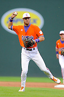 Infielder Weston Wilson (8) of the Clemson Tigers in a fall scrimmage against College Lafleche from Canada on October 17, 2013, at Fluor Field at the West End in Greenville, South Carolina. (Tom Priddy/Four Seam Images)