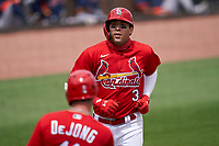 St. Louis Cardinals Dylan Carlson (3) rounds the bases after hitting a home run during a Major League Spring Training game against the Houston Astros on March 20, 2021 at Roger Dean Stadium in Jupiter, Florida.  (Mike Janes/Four Seam Images)