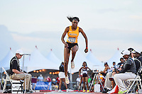 Shanice Andrews of Wichita State competes in first round of triple jump during West Preliminary Track & Field Championships at John McDonnell Field, Friday, May 30, 2014 in Fayetteville, Ark. (Mo Khursheed/TFV Media via AP Images)