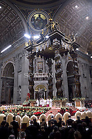 Pope Francis celebrates Christmas mass at St. Peter's Basilica in Vatican City on December 24, 2014