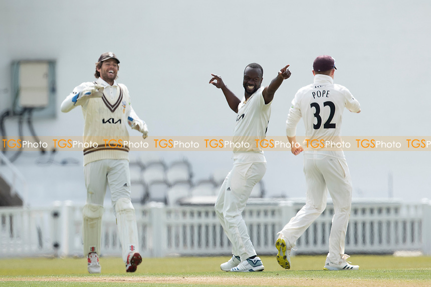 Kemar Roach, Surrey CCC celebrates the wicket of Ian Holland during Surrey CCC vs Hampshire CCC, LV Insurance County Championship Group 2 Cricket at the Kia Oval on 1st May 2021