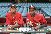Arizona Diamondbacks Merkis Montero (left) and Javier Ferrand (right) before an Instructional League game against the Oakland Athletics on October 10, 2014 at Chase Field in Phoenix, Arizona.  (Mike Janes/Four Seam Images)