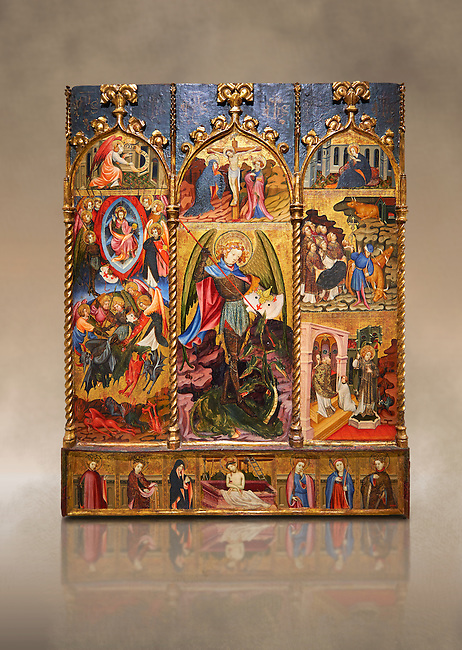 Gothic altarpiece tableau of the Archangel Gabriel  by Joan Mates of Vlafranca de Penedes, circa 1410-1430, tempera and gold leaf on for wood from the church of Santa Maria de Penafel, Alt Penedes, Spain.  National Museum of Catalan Art, Barcelona, Spain, inv no: MNAC  214533.  Against a art background.