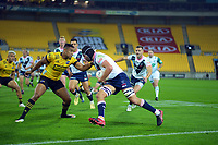 Hurricanes' Julian Savea tackles Michael Wells during the Super Rugby Tran-Tasman match between the Hurricanes and Rebels at Sky Stadium in Wellington, New Zealand on Friday, 21 May 2020. Photo: Dave Lintott / lintottphoto.co.nz