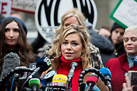 NEW YORK, NEW YORK - JANUARY 6: Reporter Lauren Sivan, center, speaks with members of the media after Harvey Weinstein arrives at the Manhattan courthouse. On January 6, 2020 in New York City. Weinstein pleaded not guilty to five counts of rape and faces a possible life sentence in prison.(Photo by Pablo Monsalve / VIEWpress)