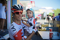 Suisse rider Reto Hollenstein (SUI/IAM) welcomes his son to the stage start<br /> <br /> stage 17: Bern (SUI) - Finhaut-Emosson (SUI) 184.5km<br /> 103rd Tour de France 2016