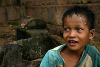 CAMBODIA 2007 ,SIAM REAP, a young boy at the Prerup Temple near Angkor Wat, Siam Reap