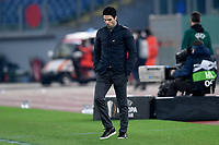 18th February 2021, Rome, Italy;  Mikel Arteta manager of Arsenal FC looks Dejected during the UEFA Europa League round of 32 Leg 1 match between SL Benfica and Arsenal at Stadio Olimpico, Rome, Italy on 18 February 2021.