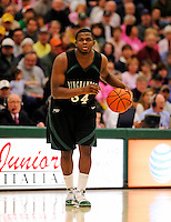 13 February 2011: Binghamton University Bearcat guard Chretien Lukusa, a Senior from  Toronto, Ontario, in action against the University of Vermont Catamounts at Patrick Gymnasium in Burlington, Vermont. The Catamounts came from behind to defeat the Bearcats 60-51 in their America East matchup. The Cats took part in the National Pink Zone Breast Cancer Awareness Program by wearing special white jerseys with pink trim. The jerseys were auctioned off following the game with proceeds going to the Vermont Cancer Center. Mandatory Credit: Ed Wolfstein Photo