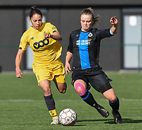 20191026 – Brugge, BELGIUM : Brugge's Chelsey Vanhooren (R) and Standard's Lola Wajnblum (L) pictured during a women soccer game between Club Brugge Dames and Standard Femina de Liege on the seventh matchday of the Belgian Superleague season 2019-2020 , the Belgian women's football  top division , Saturday 26 th October 2019 at the synthetic terrain 4 at the Jan Breydel site in Brugge  , Belgium  .  PHOTO SPORTPIX.BE | DIRK VUYLSTEKE