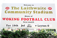 The main sign outside the ground announcing the fixture ahead of Woking vs Leyton Orient, Friendly Match Football at The Laithwaite Community Stadium on 19th July 2016