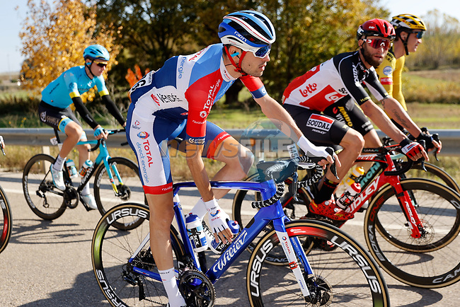 Paul Ourselin (FRA) Total Direct Energie in the peloton during Stage 9 of the Vuelta Espana 2020 running 157.7km from B.M. Cid Campeador. Castrillo del Val to Aguilar de Campo, Spain. 29th October 2020.    <br /> Picture: Luis Angel Gomez/PhotoSportGomez | Cyclefile<br /> <br /> All photos usage must carry mandatory copyright credit (© Cyclefile | Luis Angel Gomez/PhotoSportGomez)