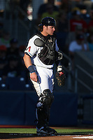 Stryker Trahan (40) of the Hillsboro Hops in the field at catcher during a game against the Boise Hawks at Ron Tonkin Field on August 21, 2015 in Hillsboro, Oregon. Boise defeated Hillsboro, 7-1. (Larry Goren/Four Seam Images)