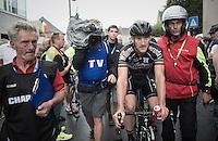 race winner Timothy Dupont (BEL/Verandas Willems) escorted to the podium<br /> <br /> 101st Kampioenschap van Vlaanderen 2016 (UCI 1.1)<br /> Koolskamp › Koolskamp (192.4km)