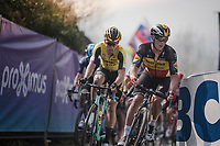 Yves LAMPAERT (BEL/Deceuninck-Quick Step) & Wout Van Aert (BEL/Jumbo-Visma) on top of the Paterberg<br /> <br /> 103rd Ronde van Vlaanderen 2019<br /> One day race from Antwerp to Oudenaarde (BEL/270km)<br /> <br /> ©kramon