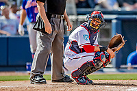 7 March 2019: Washington Nationals catcher Yan Gomes glances back to the dugout for a signal during a Spring Training Game against the New York Mets at the Ballpark of the Palm Beaches in West Palm Beach, Florida. The Nationals defeated the visiting Mets 6-4 in Grapefruit League, pre-season play. Mandatory Credit: Ed Wolfstein Photo *** RAW (NEF) Image File Available ***