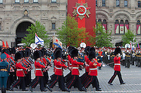 Moscow, Russia, 06/05/2010..British soldiers march through Red Square during a rehearsal for the forthcoming May 9 Victory Day parade, scheduled to be the largest for many years.