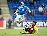 St Johnstone v Partick Thistle…13.05.17     SPFL    McDiarmid Park<br />David Wotherspoon is fouled by Ryan Edwards<br />Picture by Graeme Hart.<br />Copyright Perthshire Picture Agency<br />Tel: 01738 623350  Mobile: 07990 594431