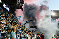 SAINT PAUL, MN - JUNE 23: Minnesota United FC Supporters sections celebrates the win after a game between Austin FC and Minnesota United FC at Allianz Field on June 23, 2021 in Saint Paul, Minnesota.