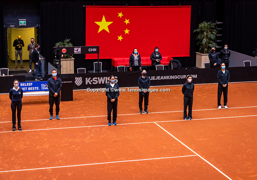 Den Bosch, The Netherlands, April 16, 2021,    Maaspoort, Billy Jean King Cup  Netherlands -  China : Opening Ceremony,  Team China.<br /> Photo: Tennisimages/Henk Koster