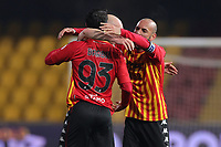 Benevento Calcio players celebrate at the end of the match during the Serie A football match between Benevento Calcio and AS Roma at Ciro Vigorito stadium in Benevento (Italy), February 21, 2021. <br /> Photo Cesare Purini / Insidefoto