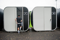 Thursday 02 July 2015<br /> Pictured: Leon Briton makes his way to one of the pods<br /> Re: Swansea City FC install sleeping pods at their training ground to help the players stay focused between training sessions