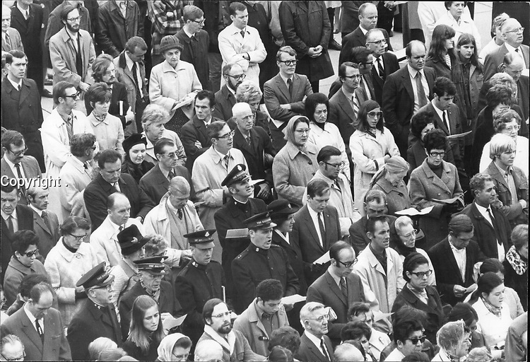 Toronto Mourns Pierre Laporte; A memorial service for Pierre Laporte; the Quebec minister of labor murdered by terrorists last Saturday; was attended by about 2;000 people in Nathan Phillips Square this afternoon.<br /> <br /> PHOTO :  Jeff Goode - Toronto Star Archives - AQP