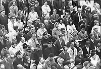 1970 FILE -<br /> <br /> Toronto Mourns Pierre Laporte; A memorial service for Pierre Laporte; the Quebec minister of labor murdered by terrorists last Saturday; was attended by about 2;000 people in Nathan Phillips Square this afternoon.<br /> <br /> PHOTO :  Jeff Goode - Toronto Star Archives - AQP