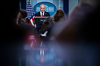 United States Secretary of Homeland Security Alejandro Mayorkas, speaks during a news conference in the James S. Brady Press Briefing Room at the White House in Washington, D.C., U.S., on Friday, September 24, 2021. President Biden faces another border crisis as thousands of Haitians try to cross into the U.S. from Mexico, and his administration's response has sparked harsh criticism from fellow Democrats over what they see as inhumane treatment of the migrants. <br /> Credit: Al Drago / Pool via CNP /MediaPunch