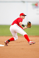 August 28, 2009:  Second Baseman Devin Goodwin of the Batavia Muckdogs gets the throw from the catcher during a game at Dwyer Stadium in Batavia, NY.  The Muckdogs are the Short-Season Class-A affiliate of the St. Louis Cardinals.  Photo By Mike Janes/Four Seam Images