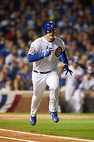 Chicago Cubs Anthony Rizzo (44) runs to first base in the first inning during Game 3 of the Major League Baseball World Series against the Cleveland Indians on October 28, 2016 at Wrigley Field in Chicago, Illinois.  (Mike Janes/Four Seam Images)