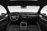 Stock photo of straight dashboard view of 2020 Audi e-tron-Sportback S-Line 5 Door SUV Dashboard