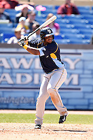 Myrtle Beach Pelicans shortstop Hanser Alberto (3) at bat during a game against the Wilmington Blue Rocks on April 27, 2014 at Frawley Stadium in Wilmington, Delaware.  Myrtle Beach defeated Wilmington 5-2.  (Mike Janes/Four Seam Images)