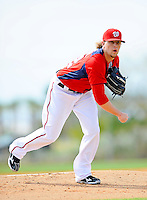 25 February 2012: Washington Nationals' pitcher Drew Storen works on the mound during the first full squad Spring Training workout at the Carl Barger Baseball Complex in Viera, Florida. Mandatory Credit: Ed Wolfstein Photo