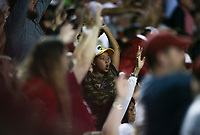 An Arkansas fan cheers, Saturday, June 5, 2021 during the fifth inning in the second game of the NCAA Fayetteville Regional at Baum-Walker Stadium in Fayetteville. Check out nwaonline.com/210606Daily/ for today's photo gallery. <br /> (NWA Democrat-Gazette/Charlie Kaijo)