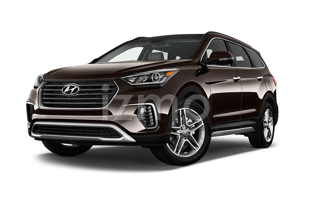 Stock pictures of low aggressive front three quarter view of 2018 Hyundai Santa-Fe Limited-Ultimate-FWD 5 Door SUV Low Aggressive
