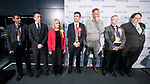 © Joel Goodman - 07973 332324 . 05/05/2017 . Manchester , UK . Candidates MOHAMMAD ASLAM (Independent) , SEAN ANSTEE (Conservative) , JANE BROPHY (Lib Dem) , ANDY BURNHAM (Labour) , MARCUS FARMER (Independent) , STEPHEN MORRIS (English Democrats) and WILL PATTERSON (Green) on the stage at the declaration . The count for council and Metro Mayor elections in Greater Manchester at the Manchester Central Convention Centre . Photo credit : Joel Goodman