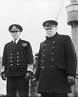 Prime Minister Winston Churchill Visits the USA, May 1943 Admiral of the Fleet Sir Dudley Pound and the Prime Minister on the deck of the SS QUEEN MARY.