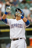 Round Rock Express first baseman Carlos Pena (33) after hitting a second inning home run during the Pacific Coast League baseball game against the Fresno Grizzlies on June 22, 2014 at the Dell Diamond in Round Rock, Texas. The Express defeated the Grizzlies 2-1. (Andrew Woolley/Four Seam Images)