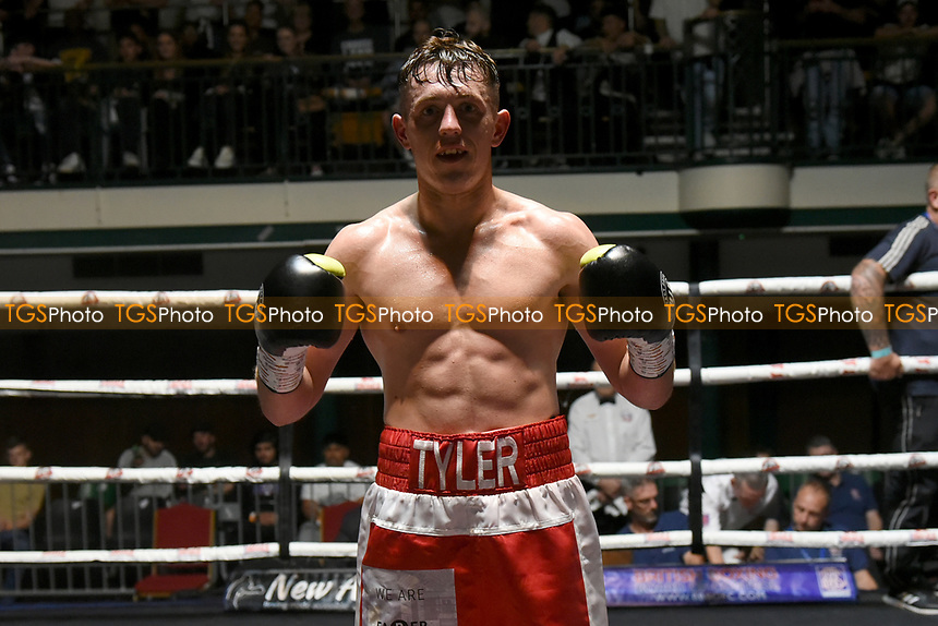 Tyler Marriott (red shorts) defeats Naeem Ali during a Boxing Show at York Hall on 11th September 2021