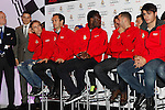 Real Madrid players Luka Modric, Ricardo Carvalho, Michael Essien and Karim Benzema participate and receive new Audi during the presentation of Real Madrid's new cars made by Audi at the Jarama racetrack on November 8, 2012 in Madrid, Spain.(ALTERPHOTOS/Harry S. Stamper)