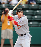 Infielder Steven Souza (13) of the Hagerstown Suns hits in the home run derby at the 2010 South Atlantic League All-Star Game on Tuesday, June 22, 2010, at Fluor Field at the West End in Greenville, S.C. Photo by: Tom Priddy/Four Seam Images