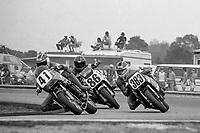 Carry Andrew, #41 Honda, leads Jeff Farmer, #86 Yamaha, and John Bulawa, #383 Suzuki, Daytona 200, AMA Superbikes, Daytona International Speedway, Daytona Beach, FL, March 9, 1986.(Photo by Brian Cleary/bcpix.com)