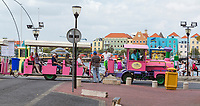 Willemstad, Curacao, Lesser Antilles.  Tourist Trolley Passing by Queen Emma  Bridge.