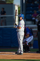 Reed Gamache (13) of the Kingsport Mets looks to his third base coach for the signs during the game against the Danville Braves at American Legion Post 325 Field on July 9, 2016 in Danville, Virginia.  The Mets defeated the Braves 10-8.  (Brian Westerholt/Four Seam Images)