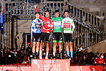 Jersey winners L-R Polka Dot Jersey Michael Storer (AUS) Team DSM, Red Jersey Primoz Roglic (SLO) Jumbo-Visma, Green Jersey Fabio Jakobsen (NED) Deceuninck-Quick-Step and White Jersey Gino Mäder (SUI) Bahrain Victorious at the end of Stage 21 final stage of La Vuelta d'Espana 2021, an individual time trial running 33.8km from Padron to Santiago de Compostela, Spain. 5th September 2021.    <br /> Picture: Luis Angel Gomez/Photogomezsport | Cyclefile<br /> <br /> All photos usage must carry mandatory copyright credit (© Cyclefile | Luis Angel Gomez/Photogomezsport)