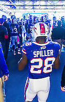 12 October 2014: Buffalo Bills running back C.J. Spiller stands in the entrance tunnel, ready to take the field against the New England Patriots at Ralph Wilson Stadium in Orchard Park, NY. The Patriots defeated the Bills 37-22 to move into first place in the AFC Eastern Division. Mandatory Credit: Ed Wolfstein Photo *** RAW (NEF) Image File Available ***